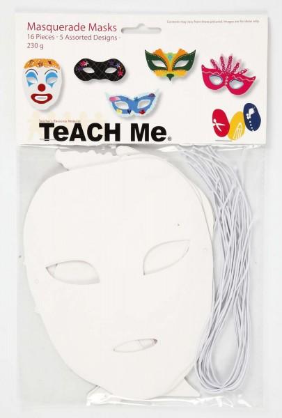 Masken aus weißem Karton 230 g, inkl. Gummiband