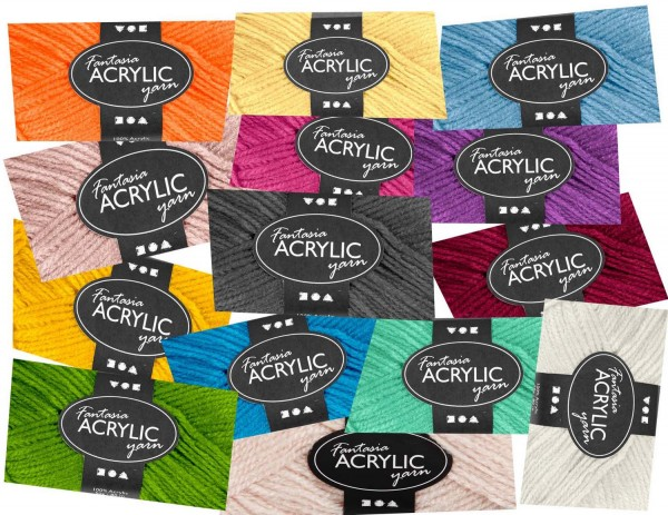 Acryl Wolle SET je 50 g, 3-fädig, 80 Laufmeter pro Knäuel, alle 20 Farben