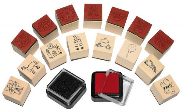 Ministempel Mädchen, 15 Stempel und 2 Stempelkissen