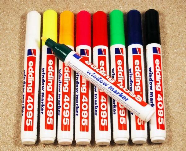 Window Marker SET Edding 4095, Rundspitze 2-3 mm, alle 9 Farben