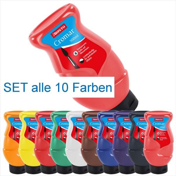 Cromar Transparentfarben SET von Aristo, 500 ml Flaschen in 10 Farben