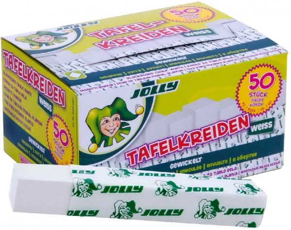 Jolly Schultafelkreide weiß, gewickelt, 50 Stück