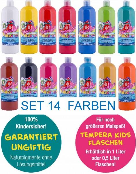 """JOLLY SUPER TEMPERA FLÜSSIGFARBE """"KIDS MIX"""" SET mit 14 Farben, 1 Liter Flasche"""
