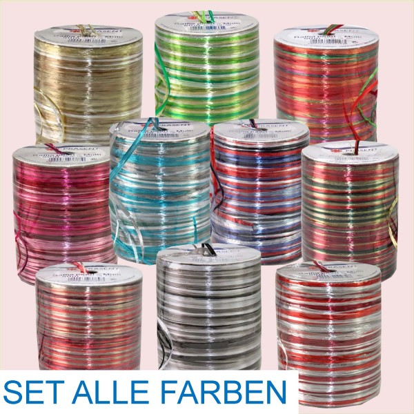 Bast Raffia-Pearl-Multicolor SET, 50 m Spule, alle 10 Kombinationen