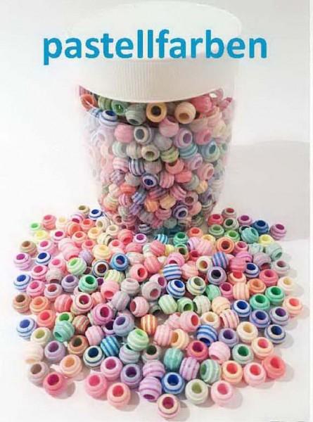 Perlen gerillt zum Fädeln von Armbändern, Halsketten, Schlüsselanhänger, etc., Preis pro Dose