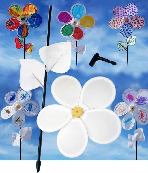 Blumen-Windrad aus Nylon, weiß, Durchmesser 20 cm, Länge 46 cm, Preis pro Stück