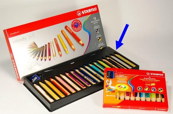 Woody von Stabilo - der Multitalent Stift: 3 in 1 - 18 Stück in 18 Farben und 1 Spitzer