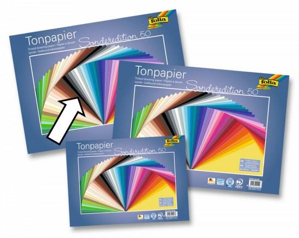 Tonpapier/Naturpapier 130 g, 50 Blatt in 50 Farben