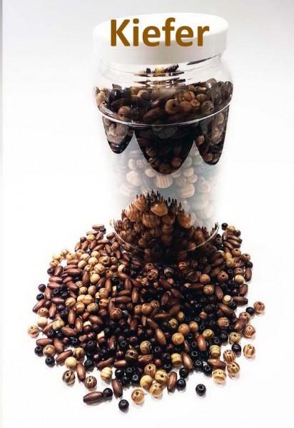 Holzperlen Mix KIEFER, 800 g Packung, Perlengröße 0,5 - 2 cm