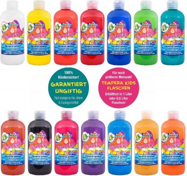 """JOLLY SUPER TEMPERA FLÜSSIGFARBE """"KIDS MIX"""" SET mit allen 14 Farben, 0,5 Liter"""