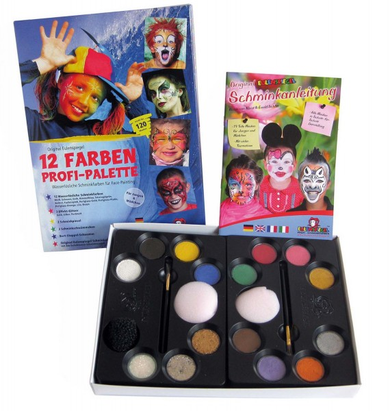 12 Schminkfarben Profi-Palette