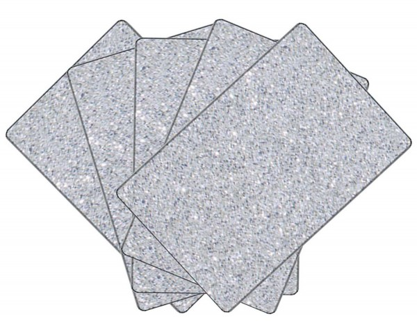 Glitterkarton einseitig bedruckt, 300 g, 5 Bogen je 50 x 70 cm, Motiv Silber