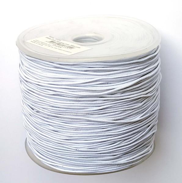 Hutgummi / Rundgummi, Stärke 1 mm, Länge 250 m, Farbe Weiß, Preis pro Rolle