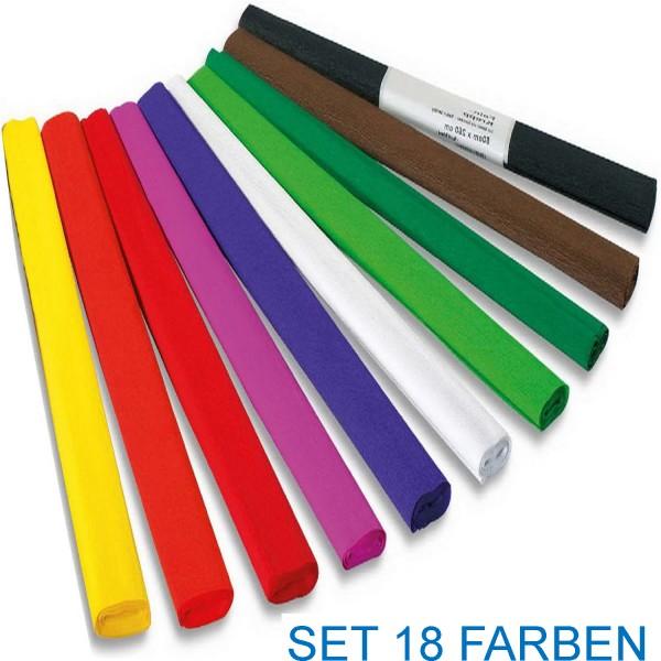 Krepp-Papier von Folia SET, 18 Farben (Standardfarben) zu je 10 Rollen