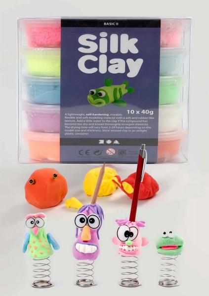 Silk Clay Knetmasse, 10 x 40 g in den 10 Ergänzungsfarben