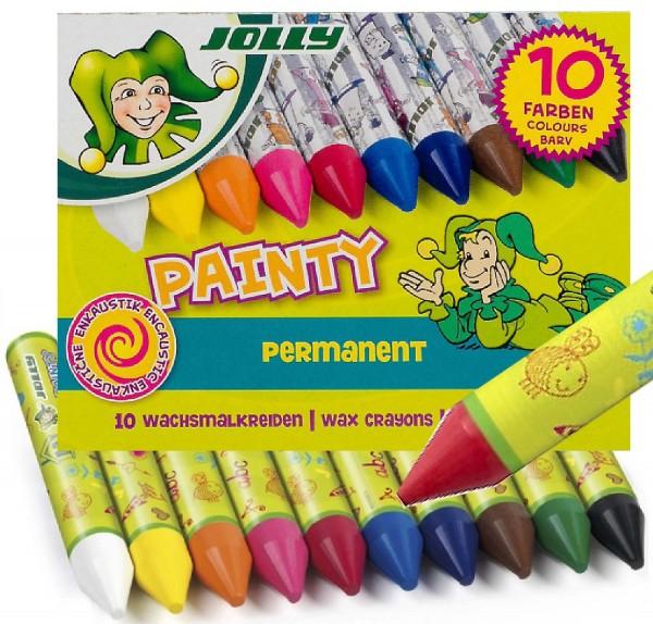Wachsmalkreide Painty von Jolly, 10 Stück in 10 Farben, auch für Bügeltechnik verwendbar