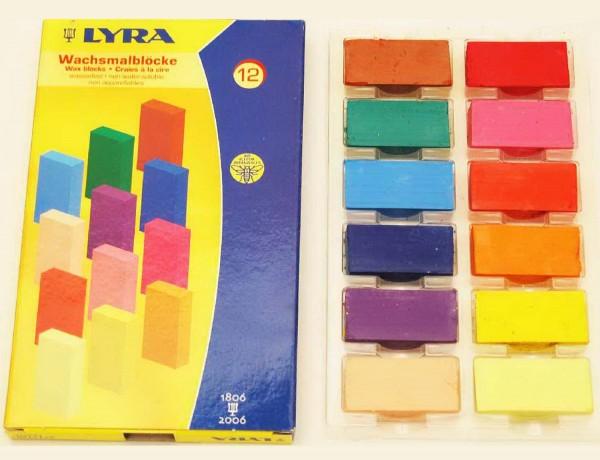 Wachsmalkreide von Lyra in Blockform, 12 Stück in 12 Farben