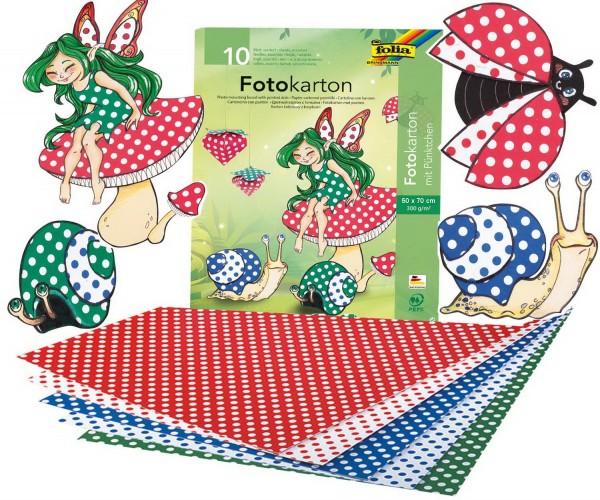 Fotokarton mit Pünktchen, 300 g, zweiseitig bedruckt, Format 50 x 70 cm, 10 Bogen eines Musters