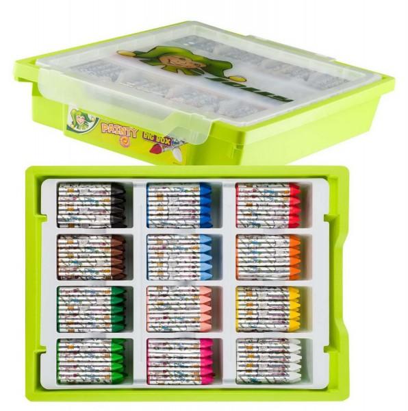 Wachsmalkreide Painty von Jolly in der Bigbox, 288 Stück in 12 Farben, auch für Bügeltechnik