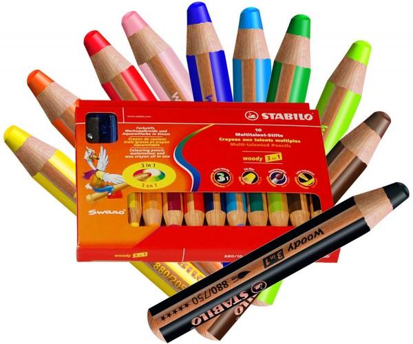 Woody von Stabilo - der Multitalent Stift: 3 in 1 - 10 Stück in 10 Farben und 1 Spitzer