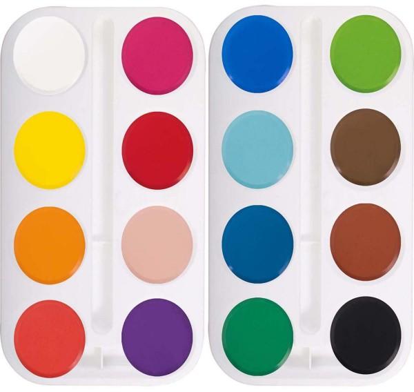 Wasserfarben-Blocks/Farbtabletten 44 mm Durchmesser, SET mit 16 Farben und 2 Paletten