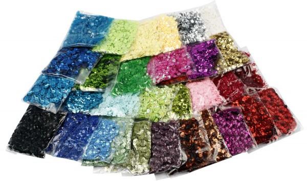 Pailletten-Sortiment, Durchmesser 6 mm, 32 Farben zu je 25 g