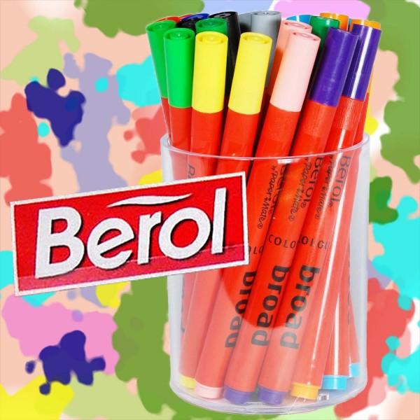 Berol Colour Broad Filzstifte, Runddose mit 24 Stiften, 12 verschiedene Farben je 2 Stifte