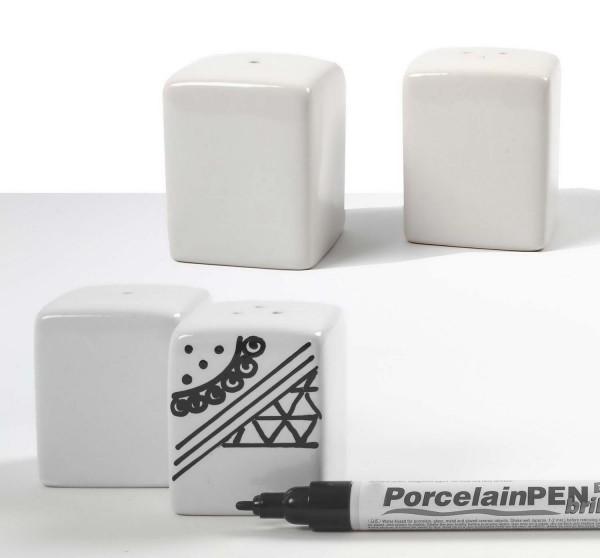 Salz- und Pfefferstreuer aus lasierter Keramik, weiß, Höhe 6 cm, Größe 5 x 5 cm, je 6 Stück
