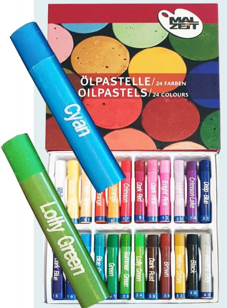 Öl-Pastellkreide, 11 mm x 7 cm, 24 Stück in 24 Farben