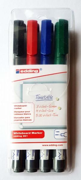 Whiteboard-Marker Edding 361, Strichstärke 1 mm, Etui 4 Stifte in 4 Farben