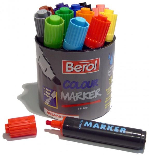 Berol Colour Marker, 12 Stück in 12 Farben in einer Runddose
