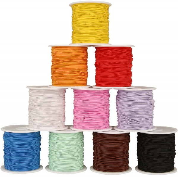 Hutgummi / Rundgummi Sortiment, Durchmesser 1 mm, 10 Farben zu je 25 m
