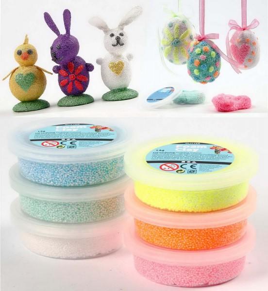 Foam Clay Glitter Knetmasse, 6 x 14 g, je 1 x gelb, grün, blau, weiß, pink, orange