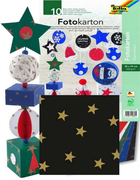 Fotokarton mit Sternchen, 300 g, zweiseitig bedruckt, Format 50 x 70 cm, 10 Bogen eines Musters