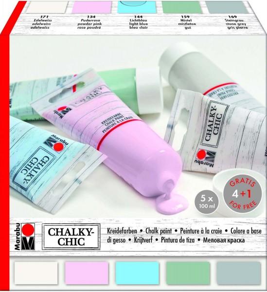 Kreidefarben Chalky-Chic Sortiment von Marabu, 5 Farben je 100 ml