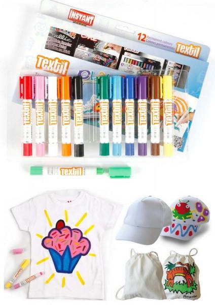 Stoff-Wachsmalkreiden, Drehstifte, 12 Stifte in 12 Farben