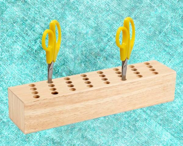 Scherenständer aus Holz mit 32 Löcher, Länge 29,5 cm, Breite 6,5 cm