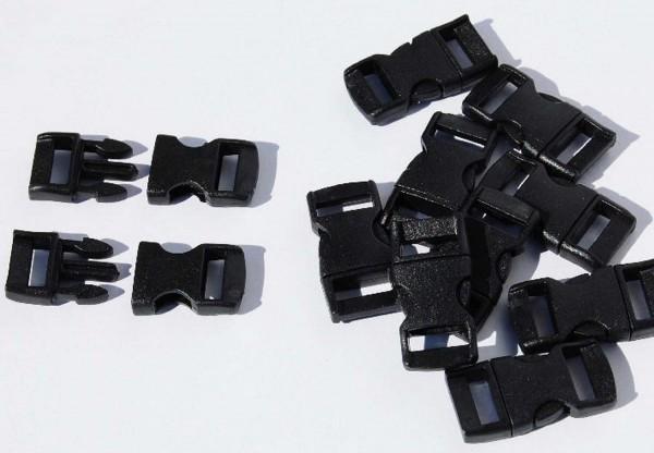 Klickschnallen schwarz, 11 mm und 16 mm, Preis pro Stück