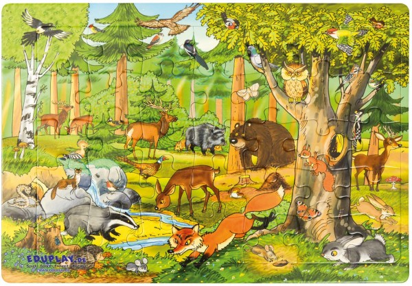 Puzzle Wald, Material: Karton, 45 x 30 cm, 35 Teile
