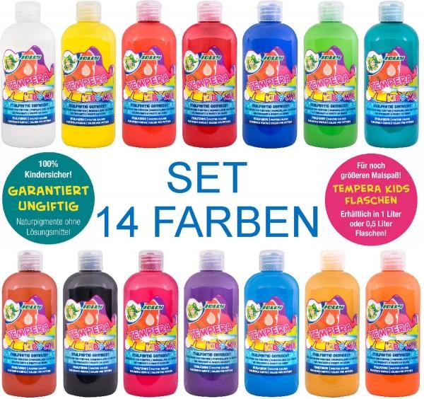 "JOLLY SUPER TEMPERA FLÜSSIGFARBE ""KIDS MIX"" SET mit 14 Farben, 0,5 Liter"