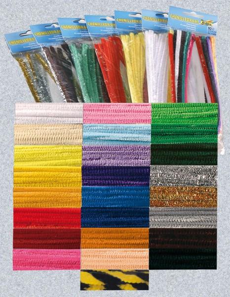 Pfeifenputzer-SET, Durchmesser 8 mm, Länge 50 cm, 25 Farben je 10 Stück