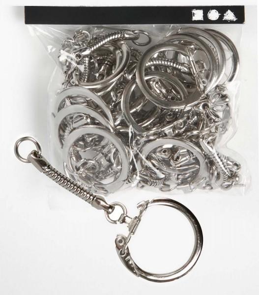 Schlüsselanhänger mit Kette, silberfarben, 6 cm, 25 Stück