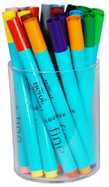 Berol Colour Fine Filzstifte, Runddose mit 24 Stiften, 12 verschiedene Farben je 2 Stifte