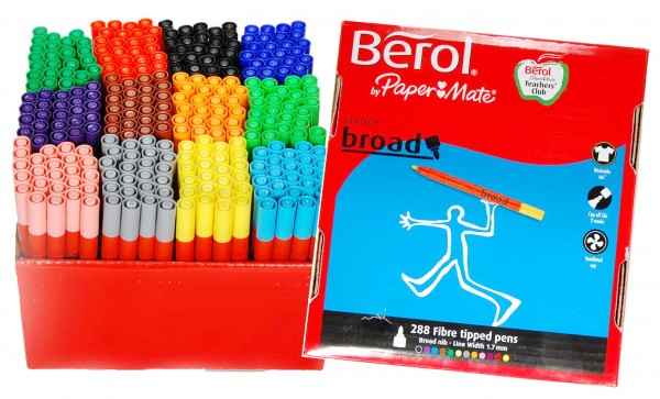 Berol Filzstifte Colour Broad - Karton mit 288 Stück in 12 Farben