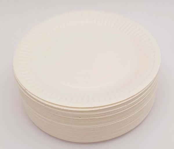 Bastel-Pappteller weiß, rund, 100 Stück