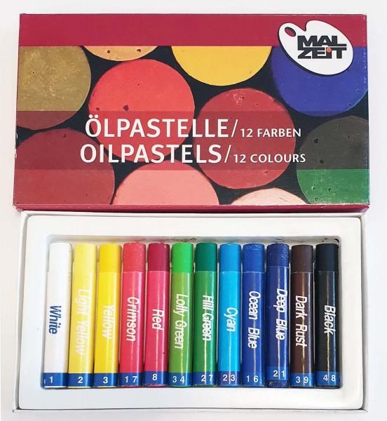 Öl-Pastellkreide, 11 mm x 7 cm, 12 Stück in 12 Farben