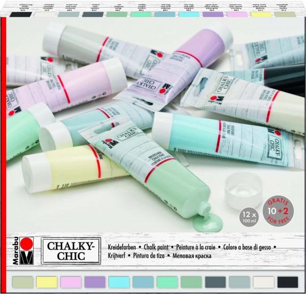 Kreidefarben Chalky-Chic Sortiment von Marabu, 12 Farben je 100 ml