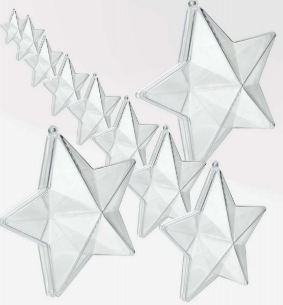 Acrylglas-Stern glasklar zum Öffnen, 95 mm, 20 Stück