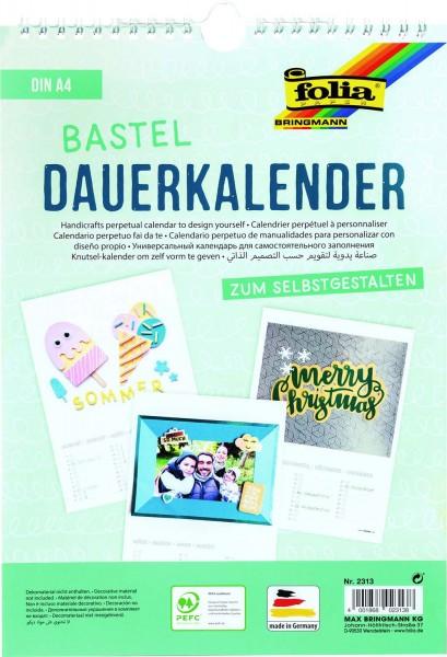 Bastel-Dauerkalender mit Spiralbindung, Format DIN A4, Papier weiß, Druck schwarz