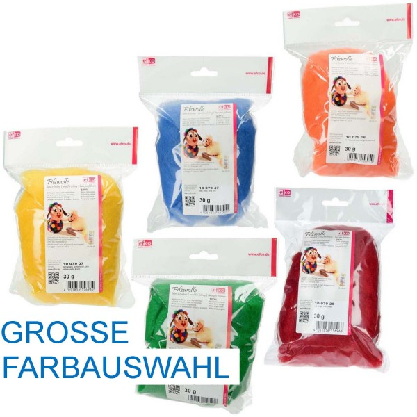 Filzwolle / Märchenwolle aus 100 % Schurwolle, 50 g Packung